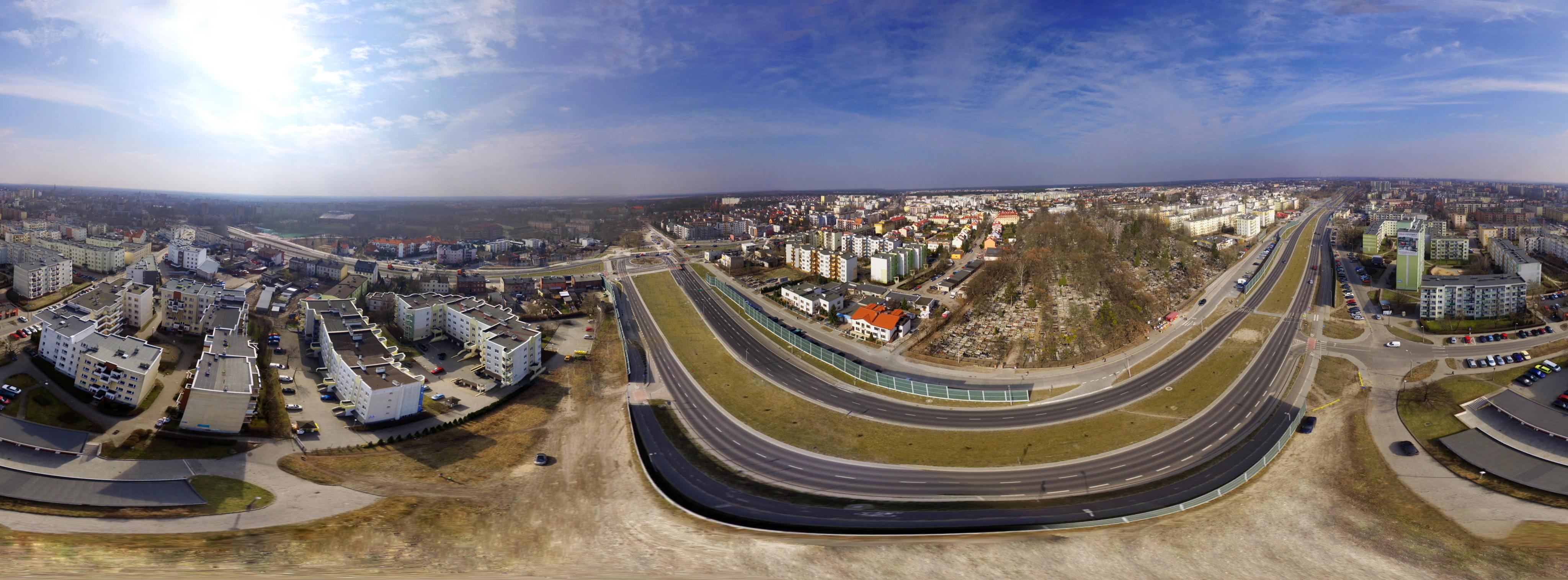 Filmowanie dronem panorama sferyczna